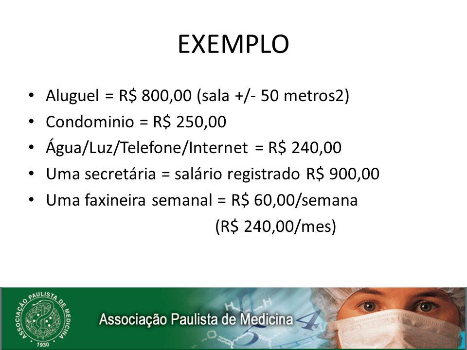 Aluguel = R$ 800,00 (sala +/- 50 metros2) Condominio = R$ 250,00 Água/Luz/Telefone/Internet = R$ 240,00 Uma secretária = salário registrado R$ 900,00