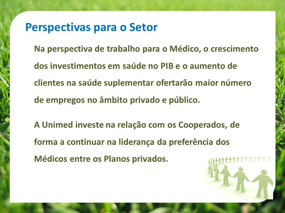 Na perspectiva de trabalho para o Médico, o crescimento dos investimentos em saúde no PIB e o aumento de clientes na saúde suplementar ofertarão maior