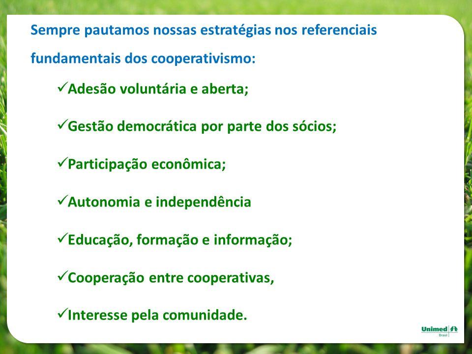 Sempre pautamos nossas estratégias nos referenciais fundamentais dos cooperativismo: Adesão voluntária e aberta; Gestão democrática por parte dos sóci