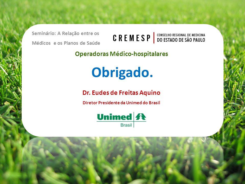 Seminário: A Relação entre os Médicos e os Planos de Saúde Dr. Eudes de Freitas Aquino Diretor Presidente da Unimed do Brasil Operadoras Médico-hospit