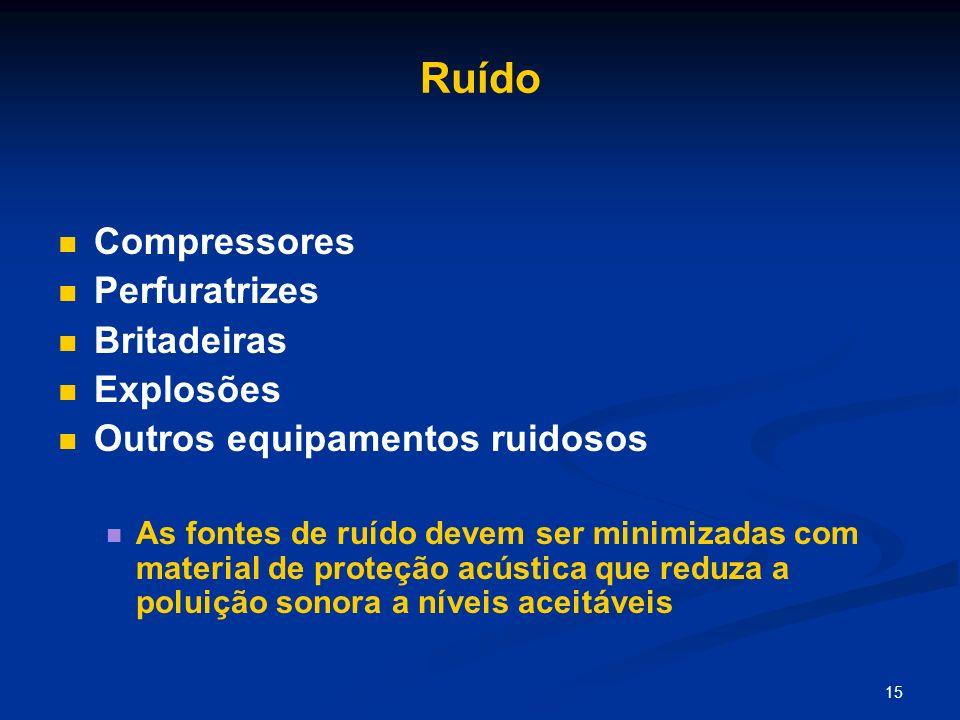 15 Ruído Compressores Perfuratrizes Britadeiras Explosões Outros equipamentos ruidosos As fontes de ruído devem ser minimizadas com material de proteç