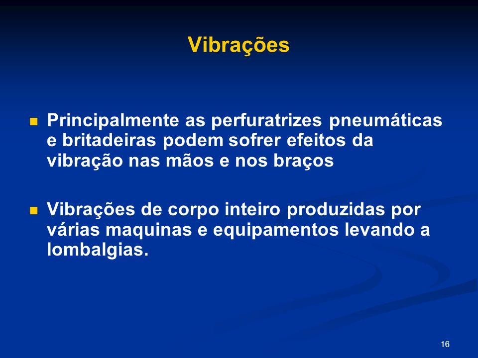 16 Vibrações Principalmente as perfuratrizes pneumáticas e britadeiras podem sofrer efeitos da vibração nas mãos e nos braços Vibrações de corpo intei