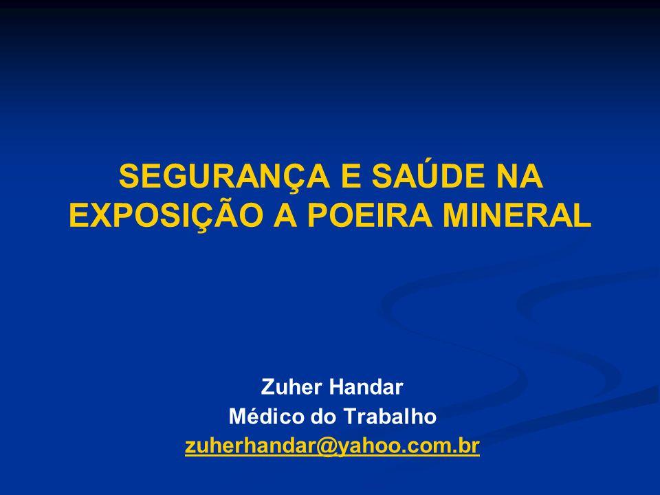 SEGURANÇA E SAÚDE NA EXPOSIÇÃO A POEIRA MINERAL Zuher Handar Médico do Trabalho zuherhandar@yahoo.com.br