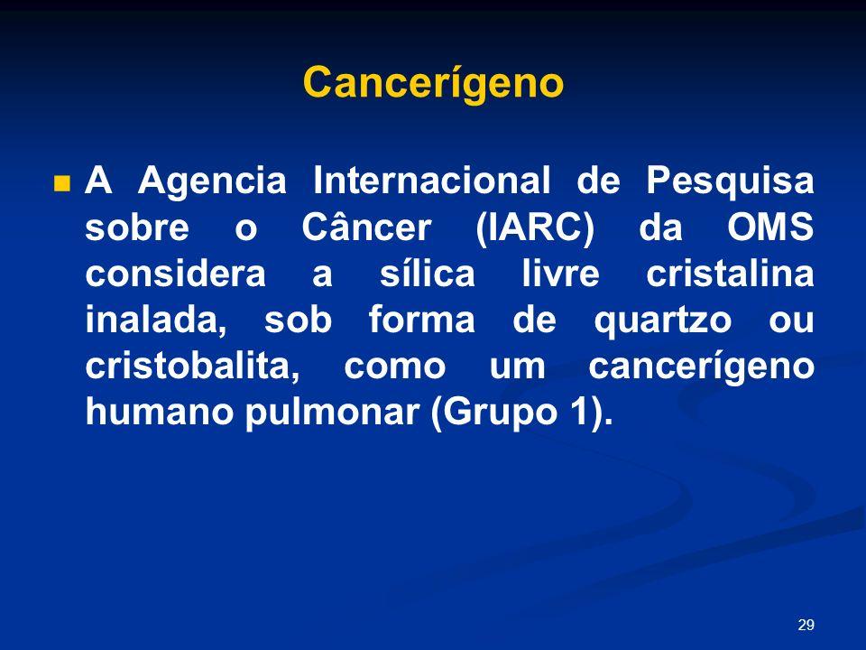 29 Cancerígeno A Agencia Internacional de Pesquisa sobre o Câncer (IARC) da OMS considera a sílica livre cristalina inalada, sob forma de quartzo ou c