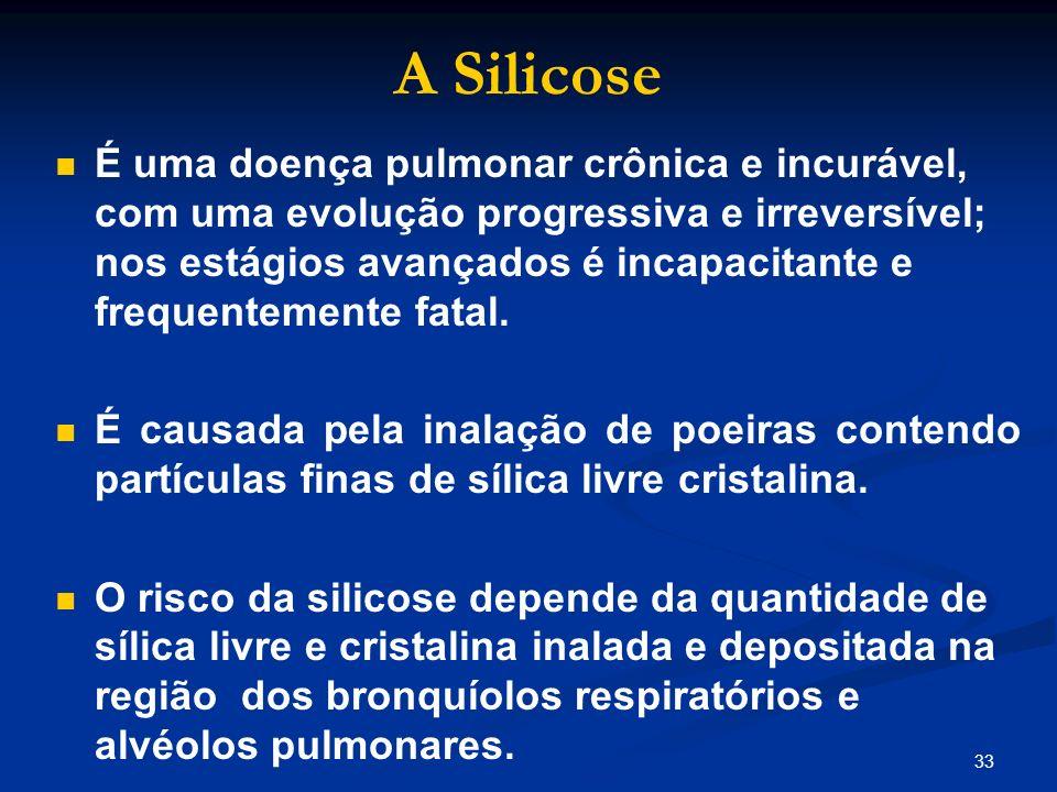 33 A Silicose É uma doença pulmonar crônica e incurável, com uma evolução progressiva e irreversível; nos estágios avançados é incapacitante e frequen