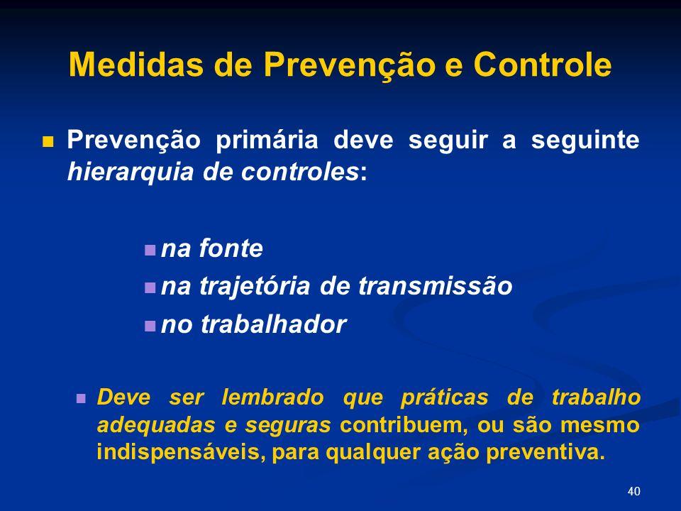 40 Medidas de Prevenção e Controle Prevenção primária deve seguir a seguinte hierarquia de controles: na fonte na trajetória de transmissão no trabalh