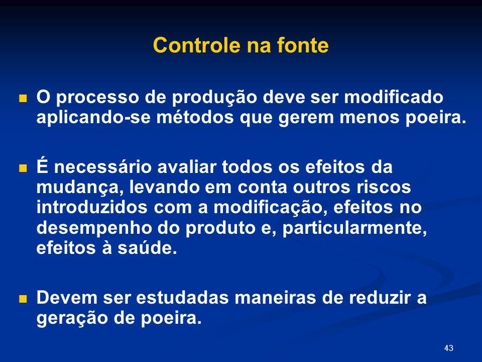 43 Controle na fonte O processo de produção deve ser modificado aplicando-se métodos que gerem menos poeira. É necessário avaliar todos os efeitos da