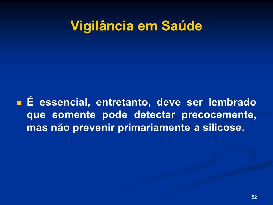 52 Vigilância em Saúde É essencial, entretanto, deve ser lembrado que somente pode detectar precocemente, mas não prevenir primariamente a silicose.