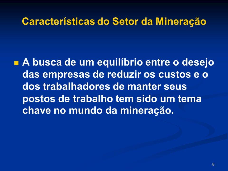 8 Características do Setor da Mineração A busca de um equilíbrio entre o desejo das empresas de reduzir os custos e o dos trabalhadores de manter seus