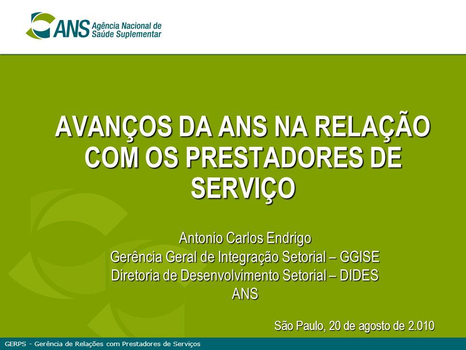 AVANÇOS DA ANS NA RELAÇÃO COM OS PRESTADORES DE SERVIÇO Antonio Carlos Endrigo Gerência Geral de Integração Setorial – GGISE Diretoria de Desenvolvime
