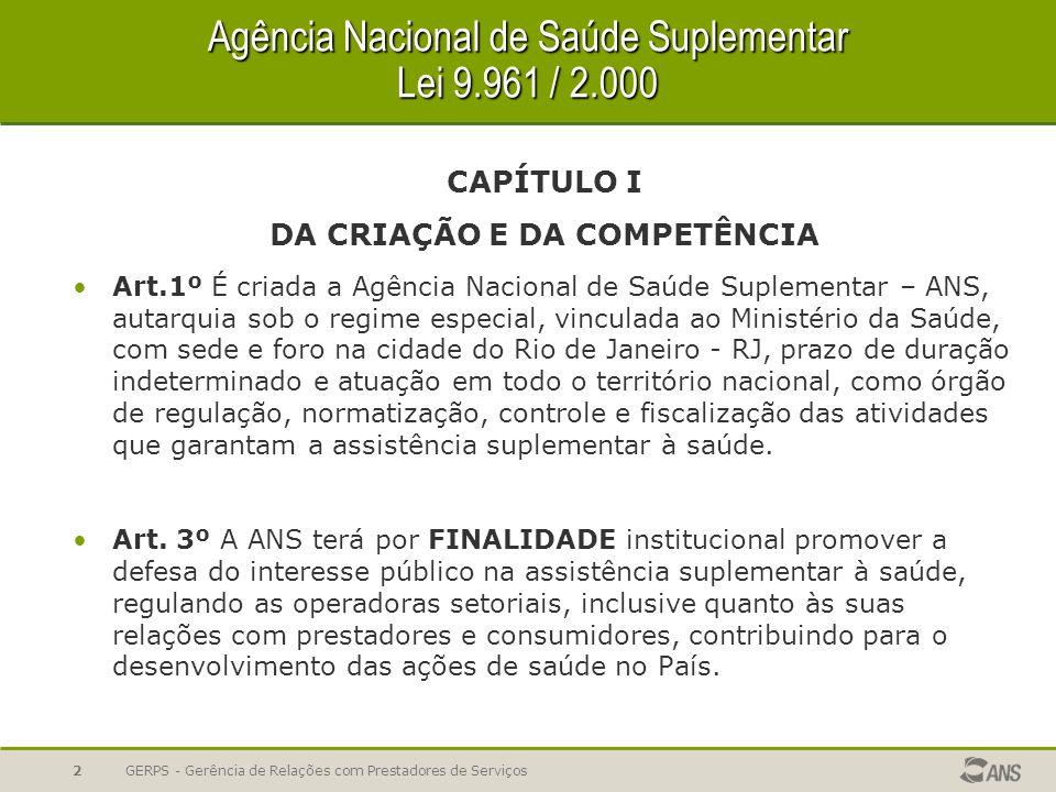 Novo Regimento Interno – Estrutura da ANS GERPS - Gerência de Relações com Prestadores de Serviços Presidência DIDES Dir Des.