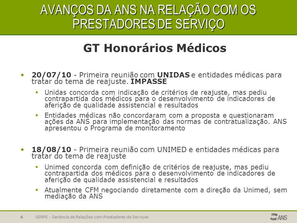 AVANÇOS DA ANS NA RELAÇÃO COM OS PRESTADORES DE SERVIÇO GT Honorários Médicos 20/07/10 - Primeira reunião com UNIDAS e entidades médicas para tratar d