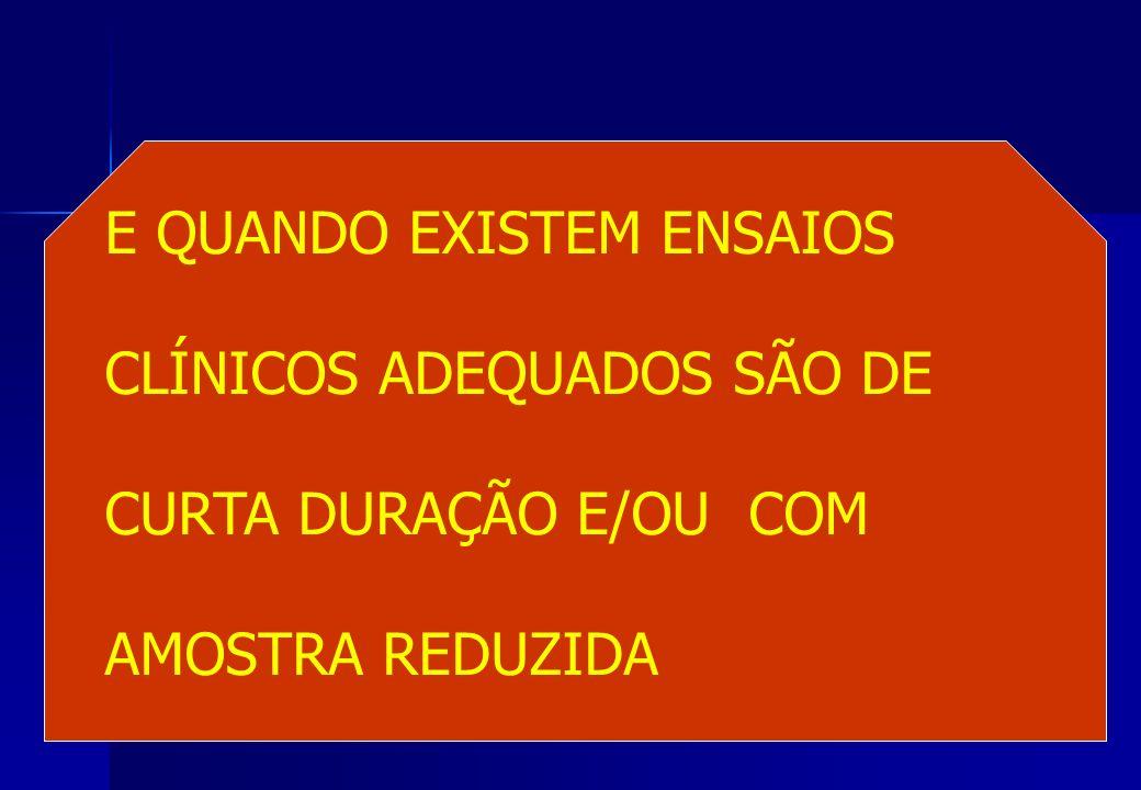 E QUANDO EXISTEM ENSAIOS CLÍNICOS ADEQUADOS SÃO DE CURTA DURAÇÃO E/OU COM AMOSTRA REDUZIDA