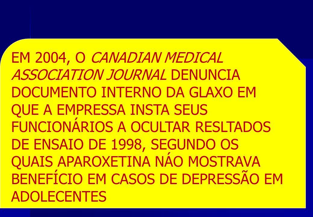 EM 2004, O CANADIAN MEDICAL ASSOCIATION JOURNAL DENUNCIA DOCUMENTO INTERNO DA GLAXO EM QUE A EMPRESSA INSTA SEUS FUNCIONÁRIOS A OCULTAR RESLTADOS DE E