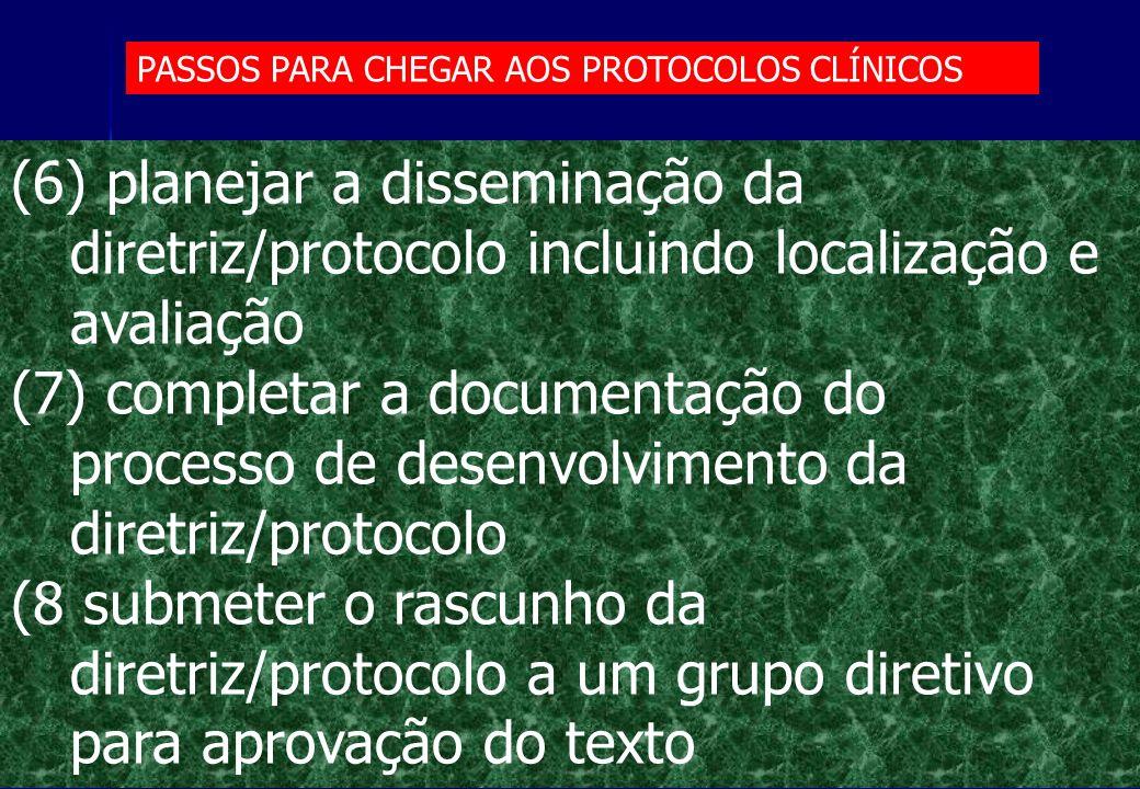 (6) planejar a disseminação da diretriz/protocolo incluindo localização e avaliação (7) completar a documentação do processo de desenvolvimento da dir