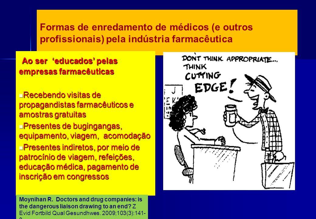 Formas de enredamento de médicos (e outros profissionais) pela indústria farmacêutica Ao ser educados pelas empresas farmacêuticas Ao ser educados pel