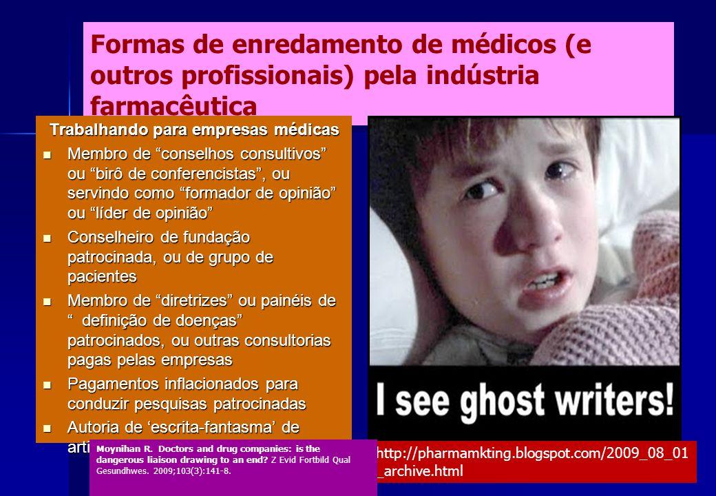 Formas de enredamento de médicos (e outros profissionais) pela indústria farmacêutica Trabalhando para empresas médicas Membro de conselhos consultivo