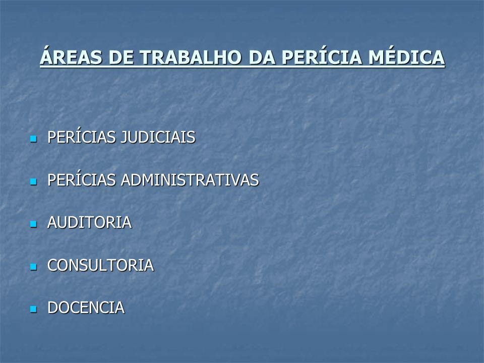 ÁREAS DE TRABALHO DA PERÍCIA MÉDICA PERÍCIAS JUDICIAIS PERÍCIAS JUDICIAIS PERÍCIAS ADMINISTRATIVAS PERÍCIAS ADMINISTRATIVAS AUDITORIA AUDITORIA CONSUL