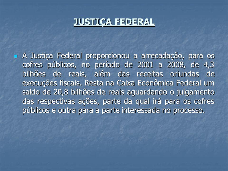 JUSTIÇA FEDERAL A Justiça Federal proporcionou a arrecadação, para os cofres públicos, no período de 2001 a 2008, de 4,3 bilhões de reais, além das re