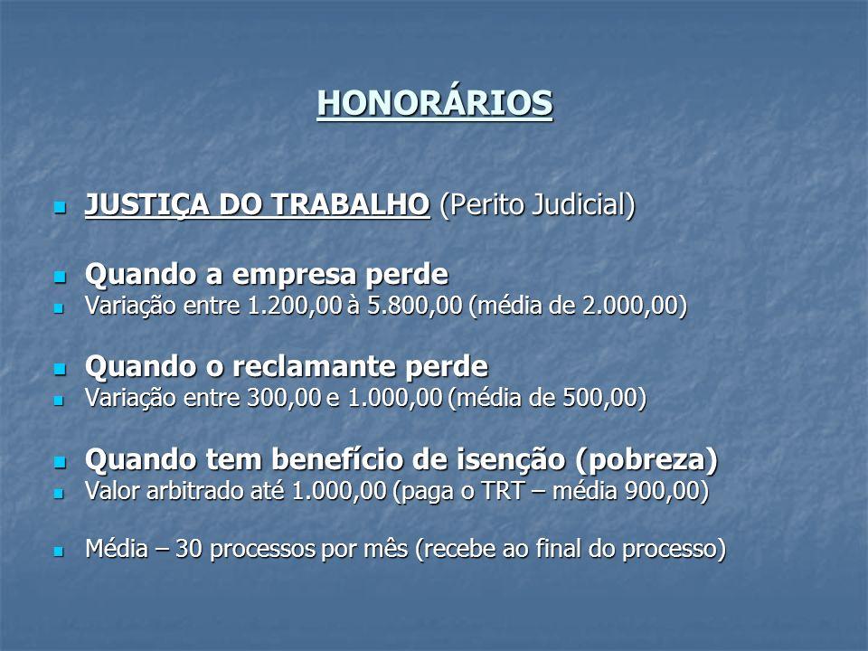 HONORÁRIOS JUSTIÇA DO TRABALHO (Perito Judicial) JUSTIÇA DO TRABALHO (Perito Judicial) Quando a empresa perde Quando a empresa perde Variação entre 1.