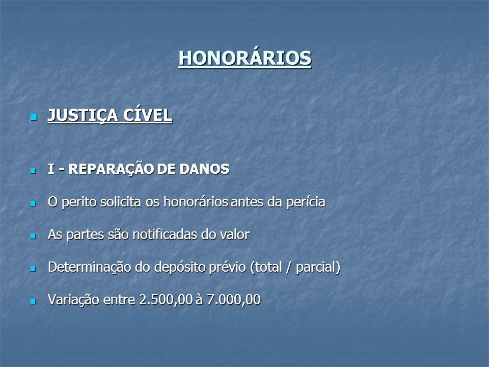 HONORÁRIOS JUSTIÇA CÍVEL JUSTIÇA CÍVEL I - REPARAÇÃO DE DANOS I - REPARAÇÃO DE DANOS O perito solicita os honorários antes da perícia O perito solicit