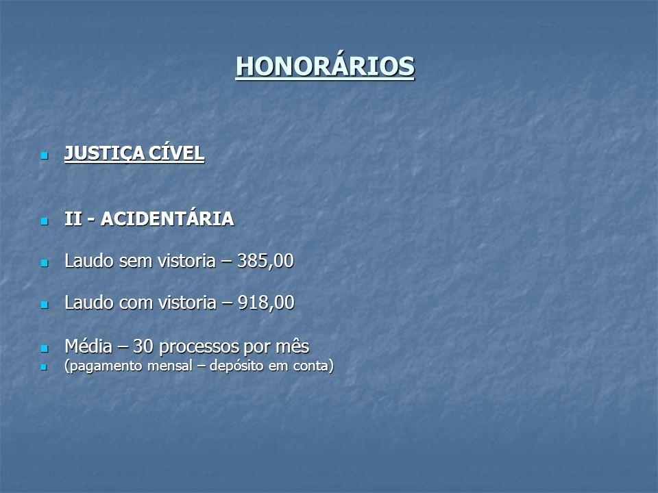 HONORÁRIOS JUSTIÇA CÍVEL JUSTIÇA CÍVEL II - ACIDENTÁRIA II - ACIDENTÁRIA Laudo sem vistoria – 385,00 Laudo sem vistoria – 385,00 Laudo com vistoria –