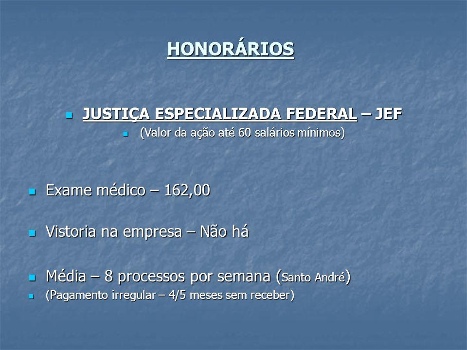 HONORÁRIOS JUSTIÇA ESPECIALIZADA FEDERAL – JEF JUSTIÇA ESPECIALIZADA FEDERAL – JEF (Valor da ação até 60 salários mínimos) (Valor da ação até 60 salár