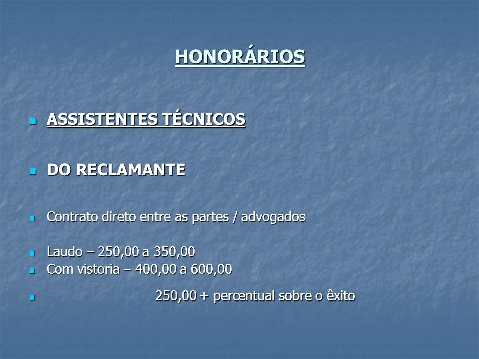 HONORÁRIOS ASSISTENTES TÉCNICOS ASSISTENTES TÉCNICOS DO RECLAMANTE DO RECLAMANTE Contrato direto entre as partes / advogados Contrato direto entre as