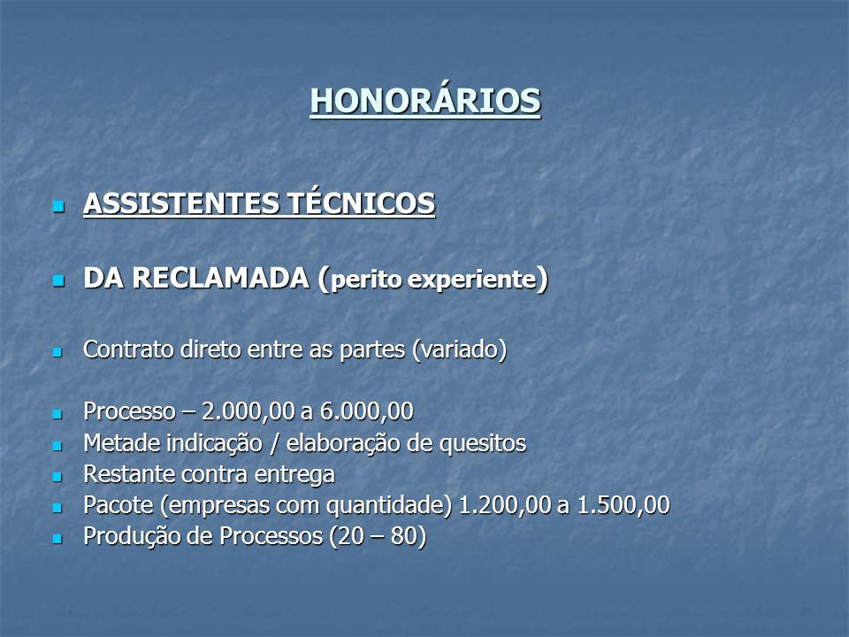 HONORÁRIOS ASSISTENTES TÉCNICOS ASSISTENTES TÉCNICOS DA RECLAMADA ( perito experiente ) DA RECLAMADA ( perito experiente ) Contrato direto entre as pa