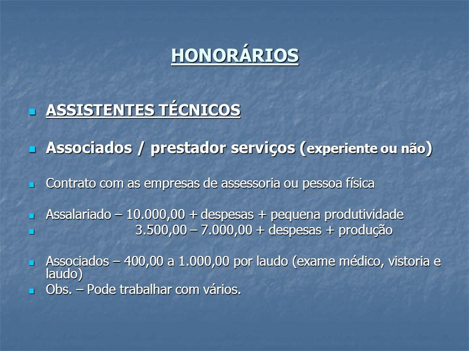 HONORÁRIOS ASSISTENTES TÉCNICOS ASSISTENTES TÉCNICOS Associados / prestador serviços ( experiente ou não ) Associados / prestador serviços ( experient