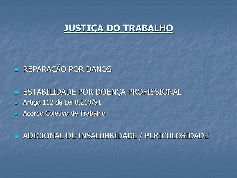 JUSTIÇA DO TRABALHO REPARAÇÃO POR DANOS REPARAÇÃO POR DANOS ESTABILIDADE POR DOENÇA PROFISSIONAL ESTABILIDADE POR DOENÇA PROFISSIONAL Artigo 112 da Le