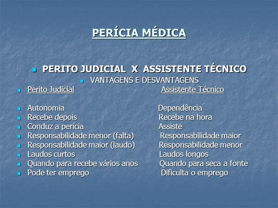 PERÍCIA MÉDICA PERITO JUDICIAL X ASSISTENTE TÉCNICO PERITO JUDICIAL X ASSISTENTE TÉCNICO VANTAGENS E DESVANTAGENS VANTAGENS E DESVANTAGENS Perito Judi