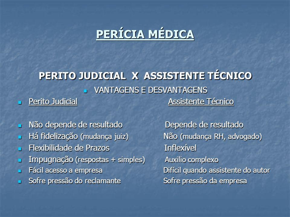 PERÍCIA MÉDICA PERITO JUDICIAL X ASSISTENTE TÉCNICO VANTAGENS E DESVANTAGENS VANTAGENS E DESVANTAGENS Perito Judicial Assistente Técnico Perito Judici
