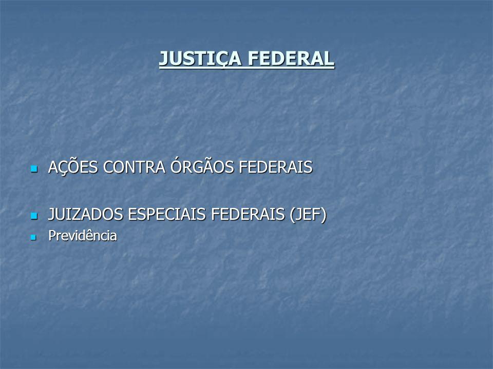 JUSTIÇA FEDERAL AÇÕES CONTRA ÓRGÃOS FEDERAIS AÇÕES CONTRA ÓRGÃOS FEDERAIS JUIZADOS ESPECIAIS FEDERAIS (JEF) JUIZADOS ESPECIAIS FEDERAIS (JEF) Previdên