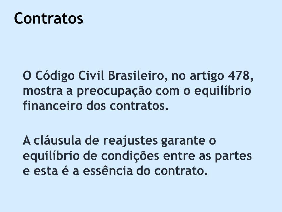 O Código Civil Brasileiro, no artigo 478, mostra a preocupação com o equilíbrio financeiro dos contratos. A cláusula de reajustes garante o equilíbrio