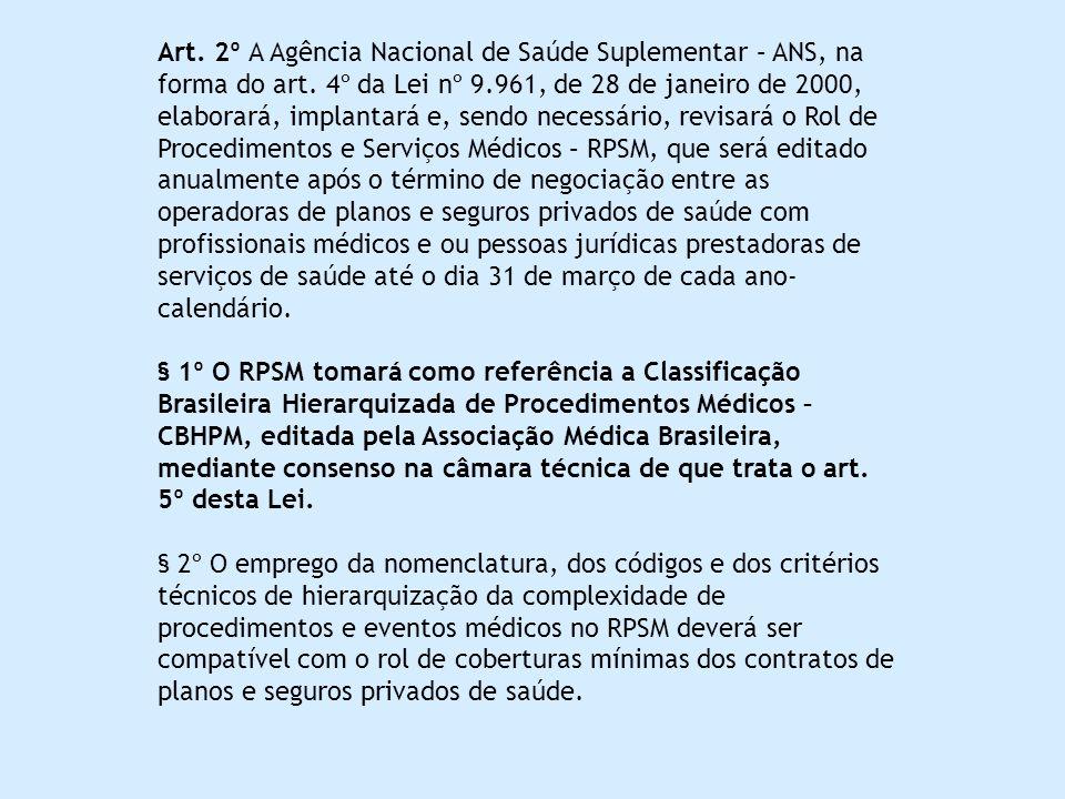 Art. 2º A Agência Nacional de Saúde Suplementar – ANS, na forma do art. 4º da Lei nº 9.961, de 28 de janeiro de 2000, elaborará, implantará e, sendo n