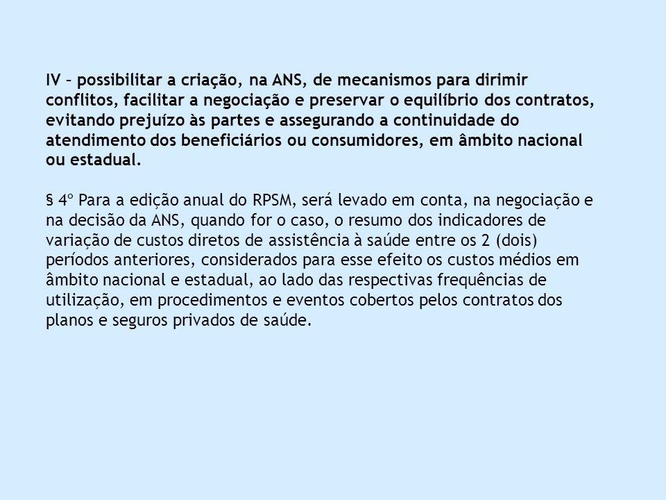 IV – possibilitar a criação, na ANS, de mecanismos para dirimir conflitos, facilitar a negociação e preservar o equilíbrio dos contratos, evitando pre