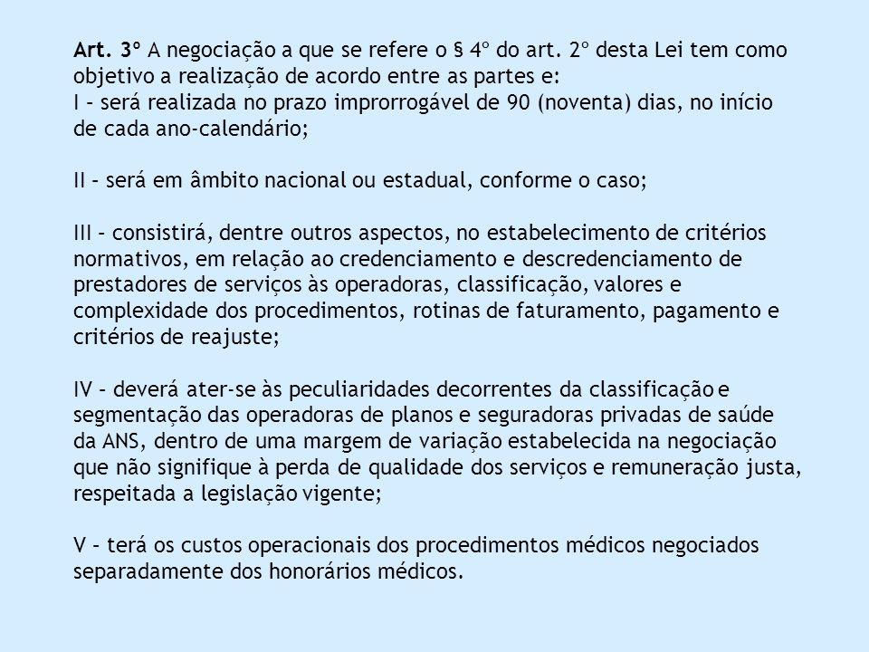 Art. 3º A negociação a que se refere o § 4º do art. 2º desta Lei tem como objetivo a realização de acordo entre as partes e: I – será realizada no pra