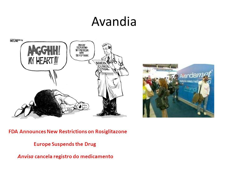 Avandia FDA Announces New Restrictions on Rosiglitazone Europe Suspends the Drug Anvisa cancela registro do medicamento