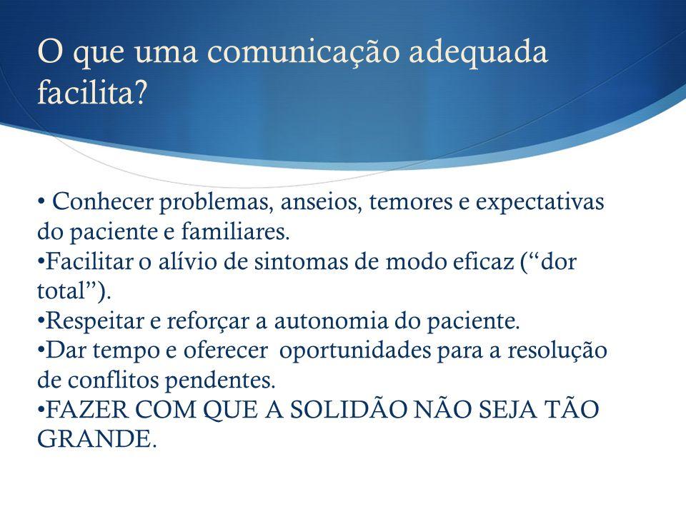 O que uma comunicação adequada facilita? Conhecer problemas, anseios, temores e expectativas do paciente e familiares. Facilitar o alívio de sintomas