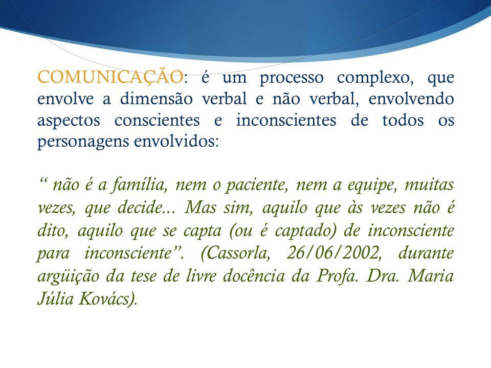 COMUNICAÇÃO: é um processo complexo, que envolve a dimensão verbal e não verbal, envolvendo aspectos conscientes e inconscientes de todos os personage