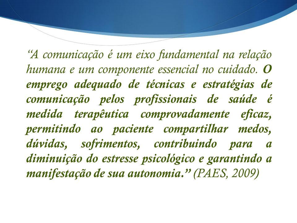 A comunicação é um eixo fundamental na relação humana e um componente essencial no cuidado. O emprego adequado de técnicas e estratégias de comunicaçã