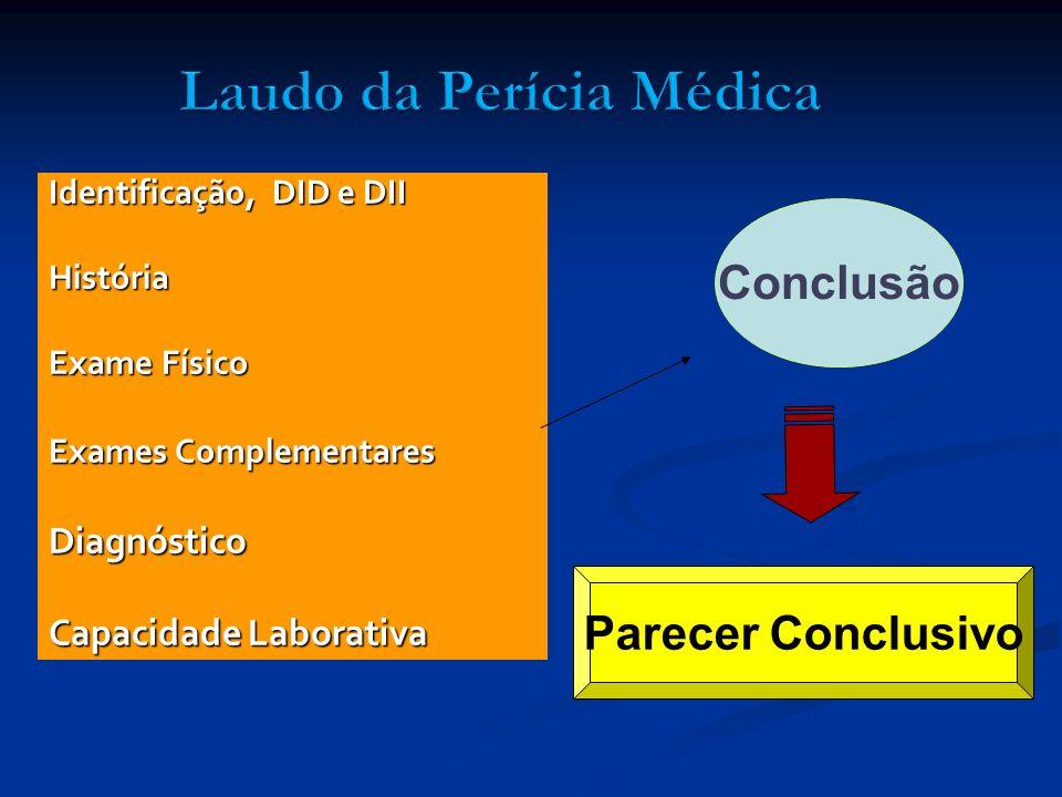 Identificação, DID e DII História Exame Físico Exames Complementares Diagnóstico Capacidade Laborativa Conclusão Parecer Conclusivo