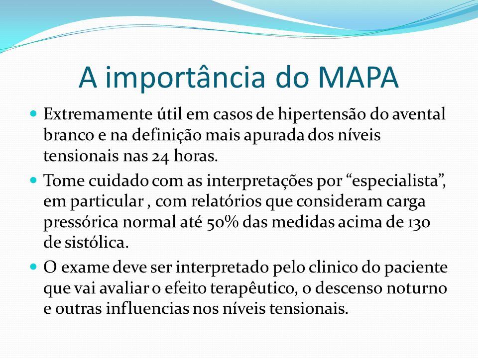 A importância do MAPA Extremamente útil em casos de hipertensão do avental branco e na definição mais apurada dos níveis tensionais nas 24 horas. Tome