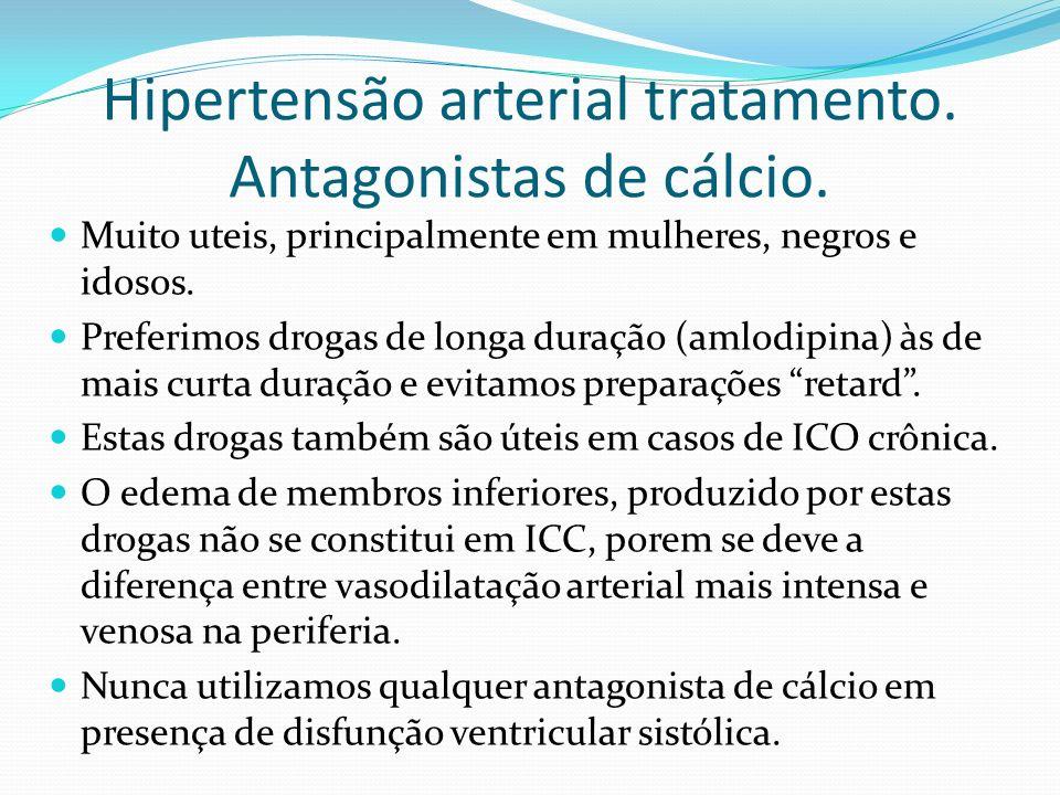 Hipertensão arterial tratamento. Antagonistas de cálcio. Muito uteis, principalmente em mulheres, negros e idosos. Preferimos drogas de longa duração