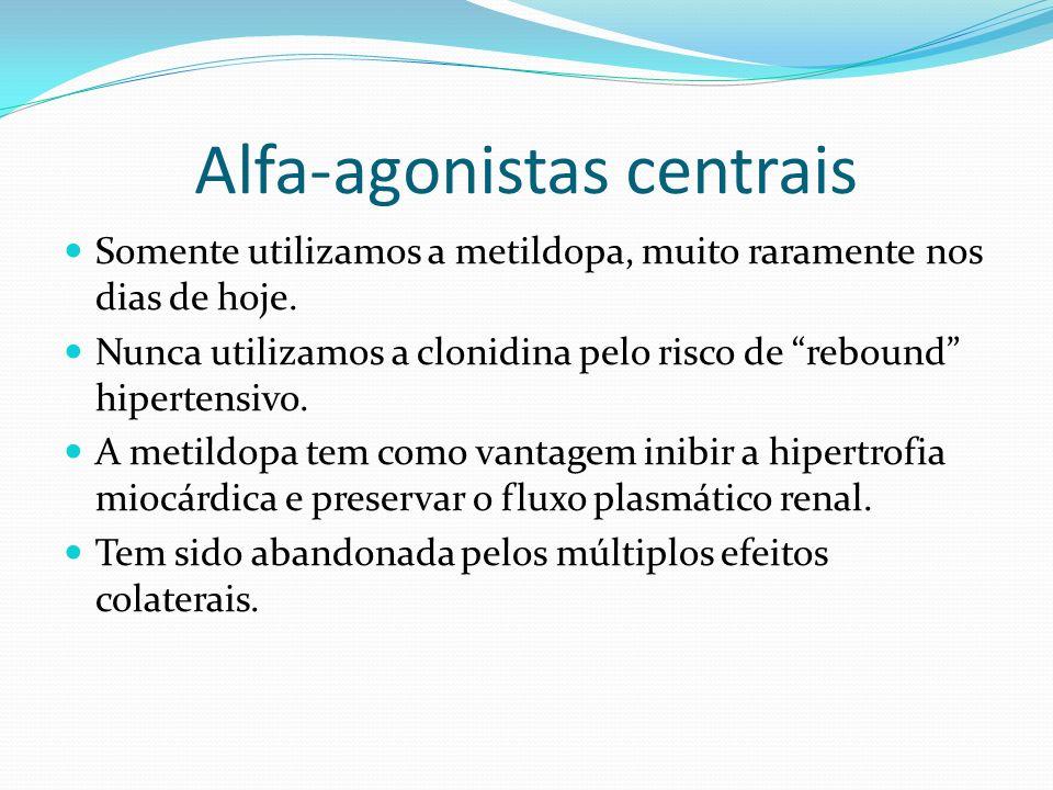 Alfa-agonistas centrais Somente utilizamos a metildopa, muito raramente nos dias de hoje. Nunca utilizamos a clonidina pelo risco de rebound hipertens