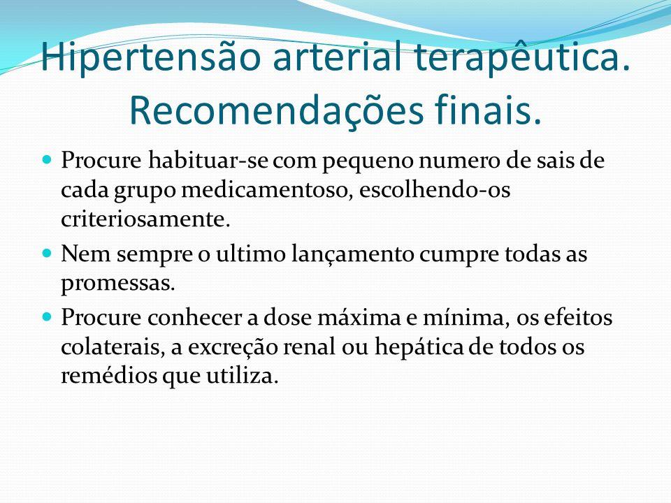Hipertensão arterial terapêutica. Recomendações finais. Procure habituar-se com pequeno numero de sais de cada grupo medicamentoso, escolhendo-os crit