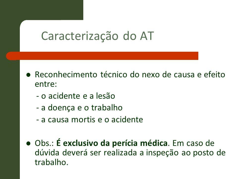 Caracterização do AT Reconhecimento técnico do nexo de causa e efeito entre: - o acidente e a lesão - a doença e o trabalho - a causa mortis e o acide