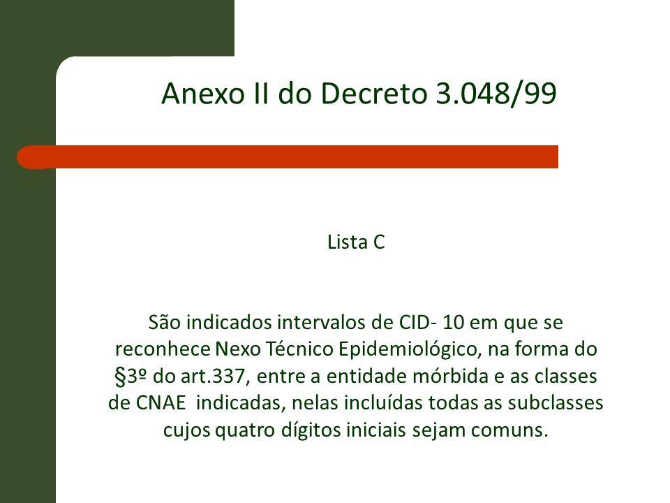 Lista C São indicados intervalos de CID- 10 em que se reconhece Nexo Técnico Epidemiológico, na forma do §3º do art.337, entre a entidade mórbida e as