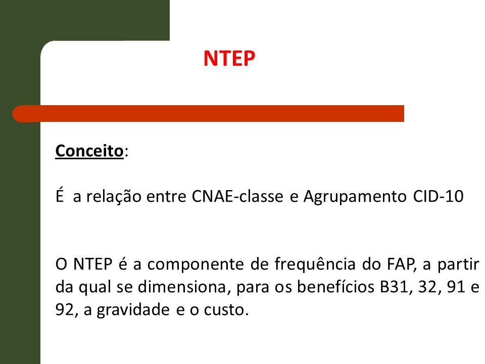 Conceito: É a relação entre CNAE-classe e Agrupamento CID-10 O NTEP é a componente de frequência do FAP, a partir da qual se dimensiona, para os benef